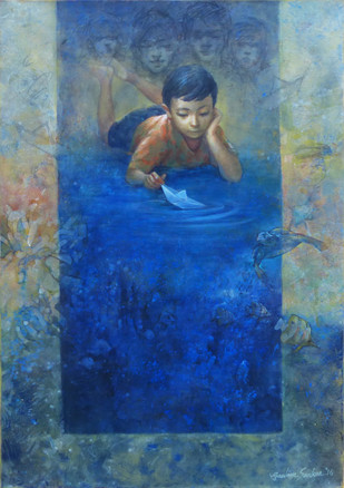 Boy with paper boat by Gautam Sarkar, Realism Painting, Acrylic on Canvas, Blue color