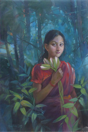 Girl with lotus by Gautam Sarkar, Realism Painting, Acrylic on Canvas, Green color