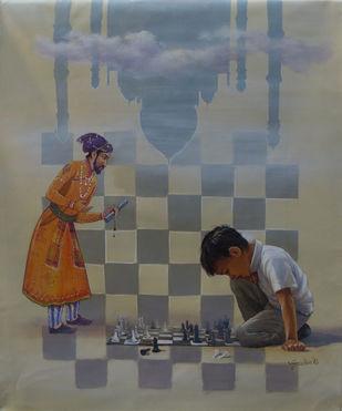 Shatranj by Gautam Sarkar, Realism Painting, Acrylic on Canvas, Brown color