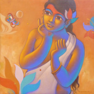 Girl with Butterfly by Avinash Deshmukh, Traditional Painting, Acrylic on Canvas, Brown color
