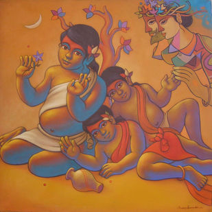 Girls by Avinash Deshmukh, Traditional Painting, Acrylic on Canvas, Brown color