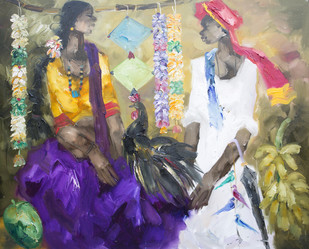 untitled by J M S Mani, Impressionism Painting, Oil on Canvas, Beige color