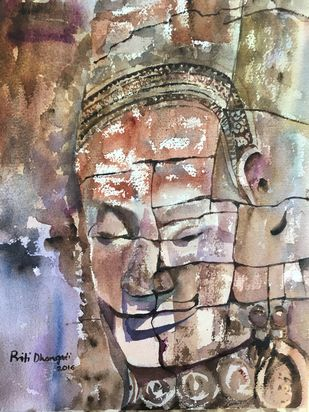 Smile of Angkor by Priti Dhongadi, Impressionism Painting, Watercolor on Paper, Brown color