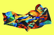 FLUTE by malay karmakar, Cubism Painting, Acrylic on Board, Yellow color