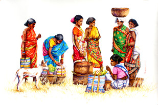 Entertime by Siva Balan, Impressionism Painting, Watercolor on Paper, White color
