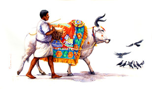 Cow with Human by Siva Balan, Decorative Painting, Watercolor on Paper, White color