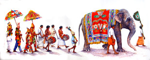 Temple Function by Siva Balan, Decorative Painting, Watercolor on Paper, Red color