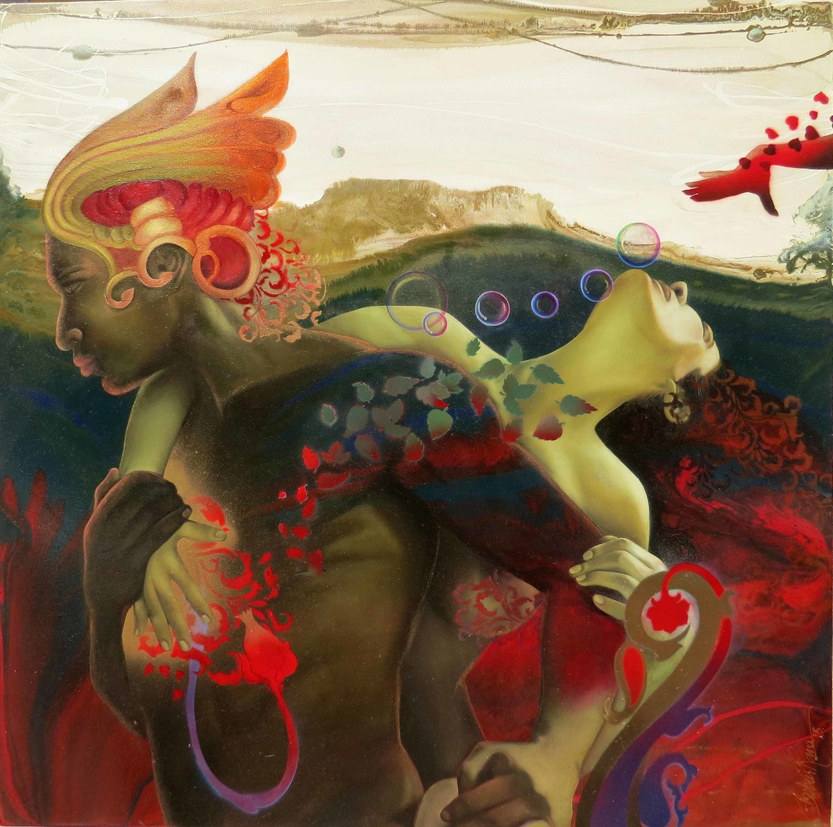 Madana-The god of love by Ankur Rana, Conceptual Painting, Oil on Canvas, Brown color