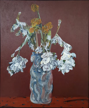 still life by DLN Reddy, Impressionism Painting, Acrylic on Canvas, Brown color