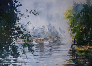 Life Along the River 1 by Mopasang Valath, Impressionism Painting, Watercolor on Paper, Green color