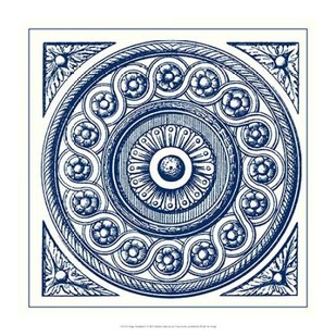 Indigo Medallion V Digital Print by Vision Studio,Decorative