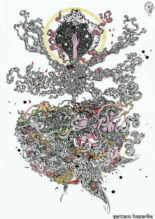 April by Santanu Hazarika, Illustration Drawing, Digital Print on Paper, Gray color