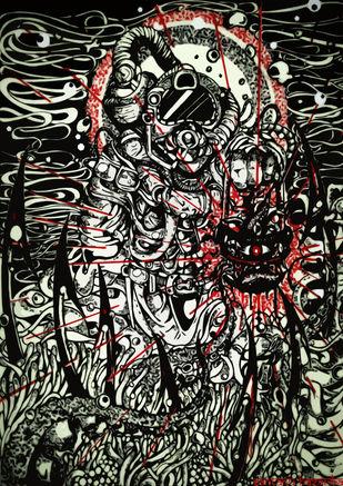 Floor by Santanu Hazarika, Illustration Drawing, Digital Print on Paper, Gray color