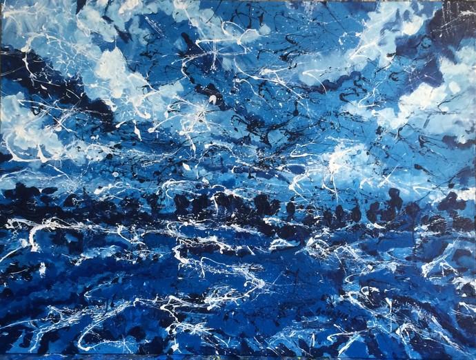Landscape - A Deconstruction by Saikat Chakraborty, Expressionism Painting, Acrylic on Canvas, Blue color