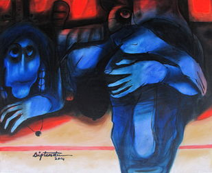 Untitled by Diptendu Bhowal, Expressionism Painting, Oil on Canvas, Blue color