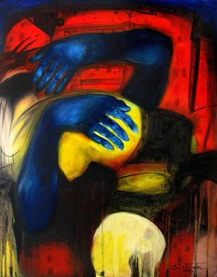 Untitled by Diptendu Bhowal, Expressionism Painting, Oil on Canvas, Brown color