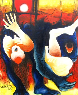 Unsafe Society by Diptendu Bhowal, Conceptual, Expressionism Painting, Oil on Canvas, Brown color