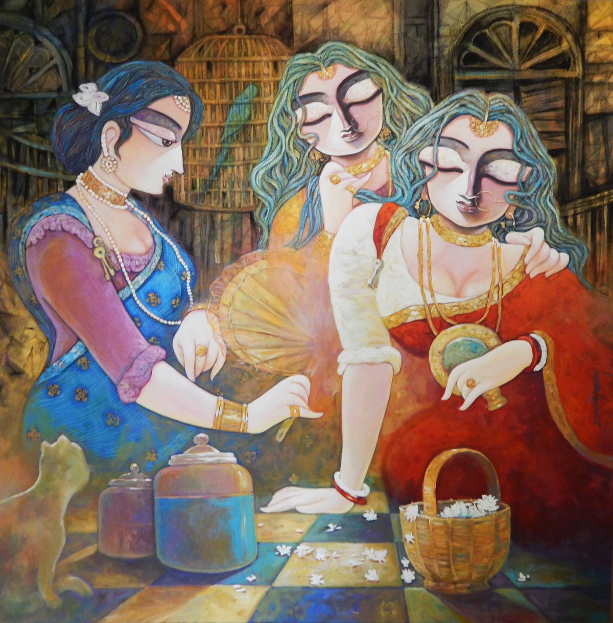 TIN KANYA by Subrata Ghosh, Expressionism Painting, Acrylic on Canvas, Brown color