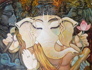 BHUWANPATI by Subrata Ghosh, Decorative Painting, Acrylic on Canvas, Beige color