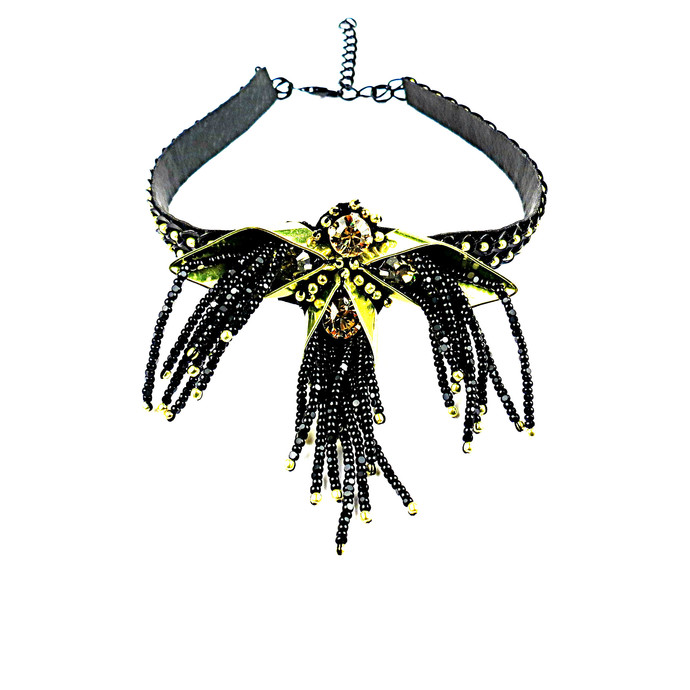 CHIC CHOKER NEON GREEN by BEGADA, Contemporary Necklace