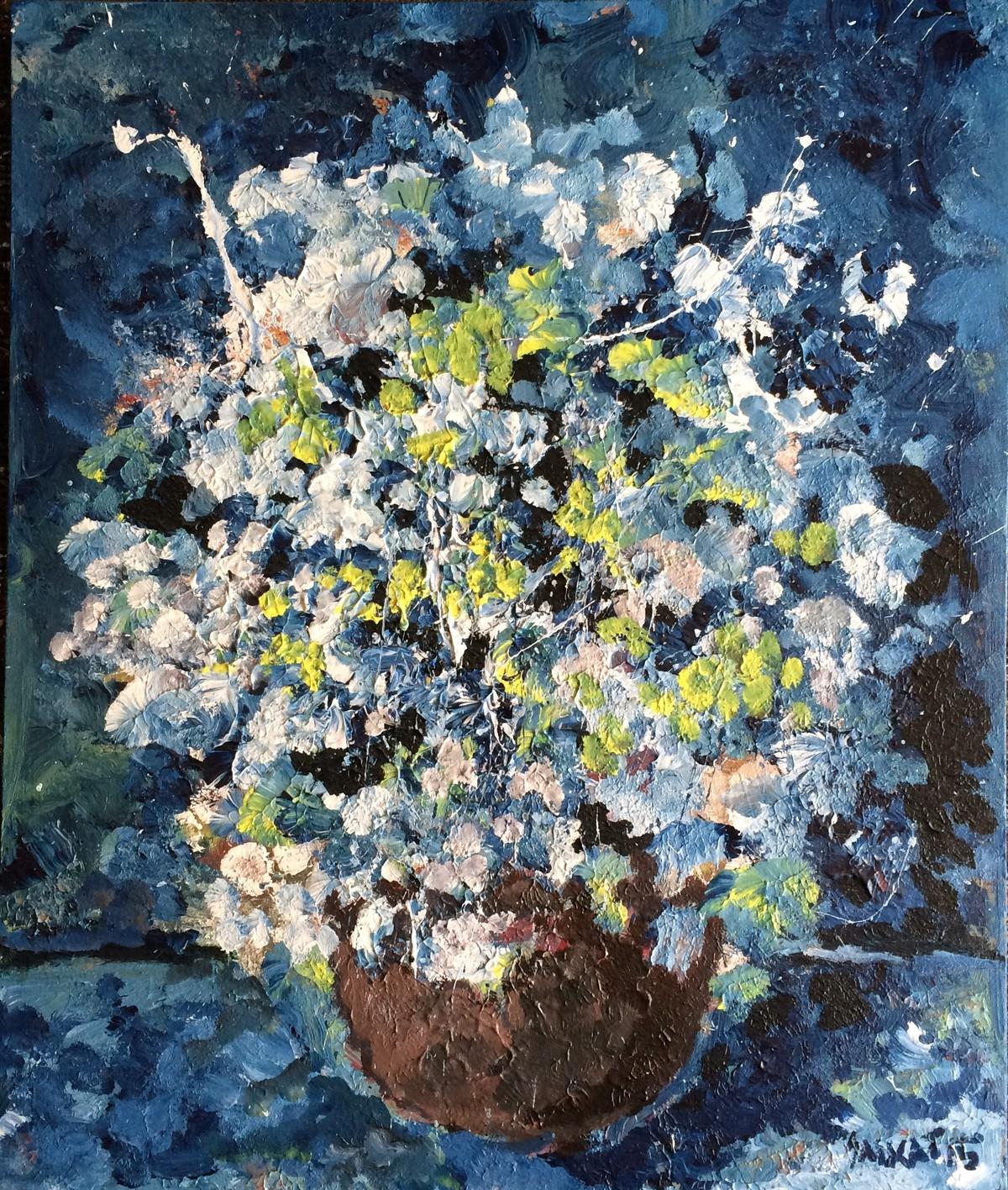 The flower vase by Saikat Chakraborty, Impressionism Painting, Acrylic on Canvas, Blue color