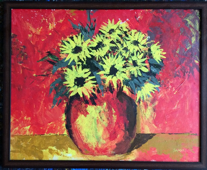 Sunflower by Saikat Chakraborty, Impressionism Painting, Acrylic on Board, Brown color