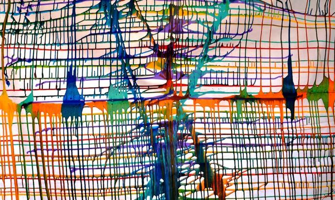 Rainbow web by Baljit Singh Chadha, Expressionism Painting, Acrylic on Canvas, Orange color