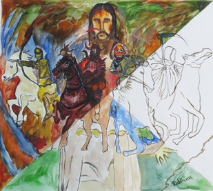 massacre and coming of Christ by riddhima sharraf, Conceptual Painting, Watercolor on Paper, Brown color