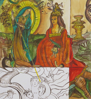 woman and dragon by riddhima sharraf, Conceptual Painting, Watercolor on Paper, Brown color
