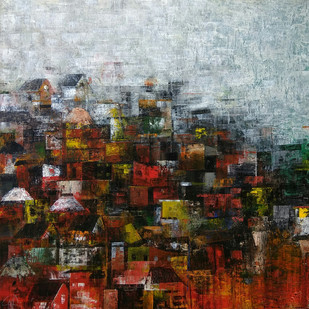 Village of Dreams by M Singh, Impressionism Painting, Acrylic on Canvas, Brown color
