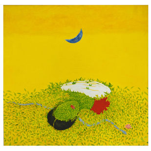Maa...Motherland by Sulekha Chowdhury, Surrealism Painting, Acrylic on Canvas, Yellow color