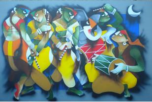 Dandiya Dance by Uttam Manna, Traditional Painting, Acrylic on Canvas, Green color