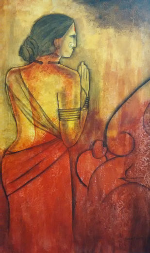 Prayer to Ganesha by Janaki Injety, Expressionism Painting, Acrylic on Canvas, Brown color
