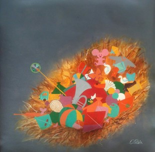 Treasure of the childhood iii by shiv kumar soni, Conceptual Painting, Acrylic on Canvas, Green color