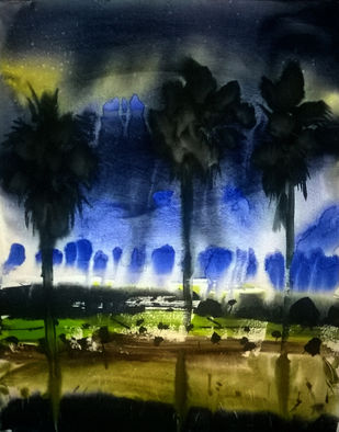 three by Santosh Keshari , Impressionism Painting, Watercolor on Paper, Blue color