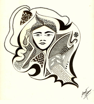 AURA by Anant Solomon, Expressionism Drawing, Pen & Ink on Paper, Bianca color