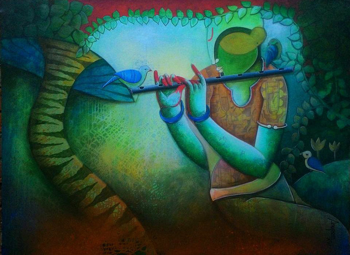 nature of love by anupam pal, Expressionism Painting, Acrylic on Canvas, Green color