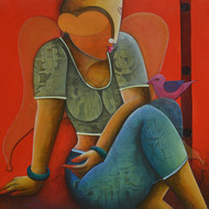 conversation by anupam pal, Expressionism Painting, Acrylic on Canvas, Brown color