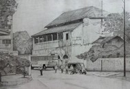 old post office by d shiva prasad reddy, Illustration Drawing, Pencil on Paper, Gray color