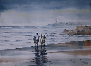 Holiday on Beach by Mopasang Valath, Painting, Watercolor on Paper, Brown color