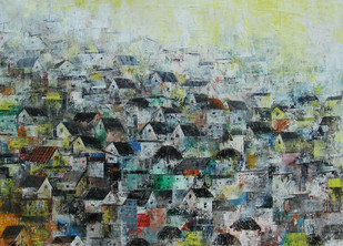 The Village by M Singh, Geometrical Painting, Acrylic on Canvas, Green color