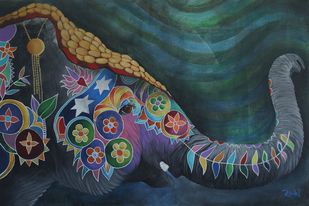 The Temple Elephant by Studio Zaki, Decorative Painting, Acrylic on Canvas, Green color