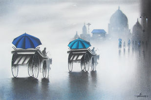 Rhythmic Monsoon Ride by Somnath Bothe, Impressionism Painting, Charcoal on Paper, Gray color