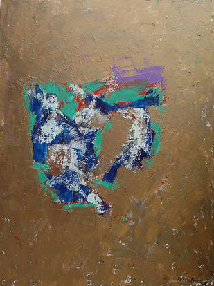 UNTITLED XVII by Maredu Ramu, Abstract Painting, Acrylic on Canvas, Brown color