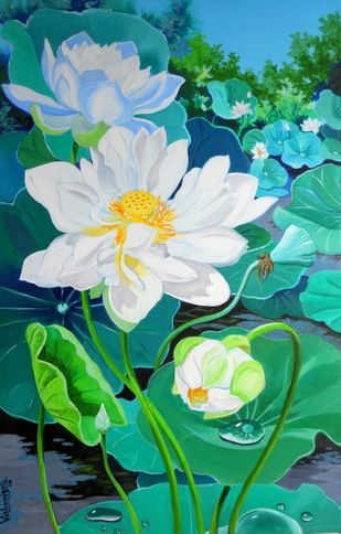 Multipetalled White Lotus II by Vishwajyoti Mohrhoff, Impressionism Painting, Acrylic on Canvas, Green color