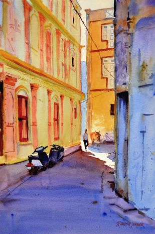 A Walk Down the Bylanes # 2 by Ramesh Jhawar, Impressionism Painting, Watercolor on Paper, Brown color