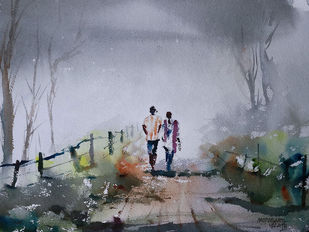 On A Misty Morning by Mopasang Valath, Expressionism Painting, Watercolor on Paper, Brown color