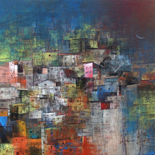 A glimpse of Village by M Singh, Geometrical Painting, Acrylic on Canvas, Brown color