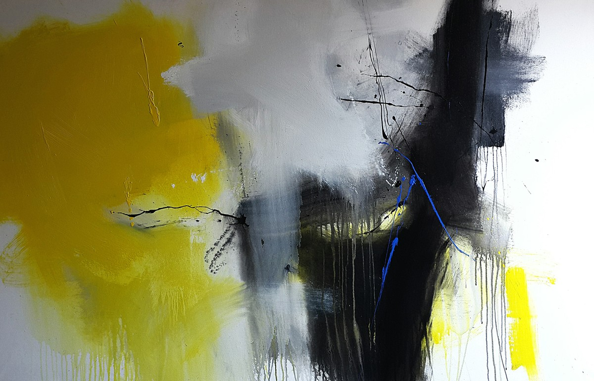 Space by Gulrez Ali, Abstract Painting, Acrylic on Canvas, Gray color