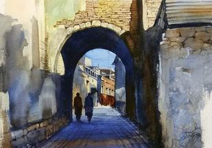 Entrance by Sunil Linus De, Impressionism Painting, Watercolor on Paper, Brown color